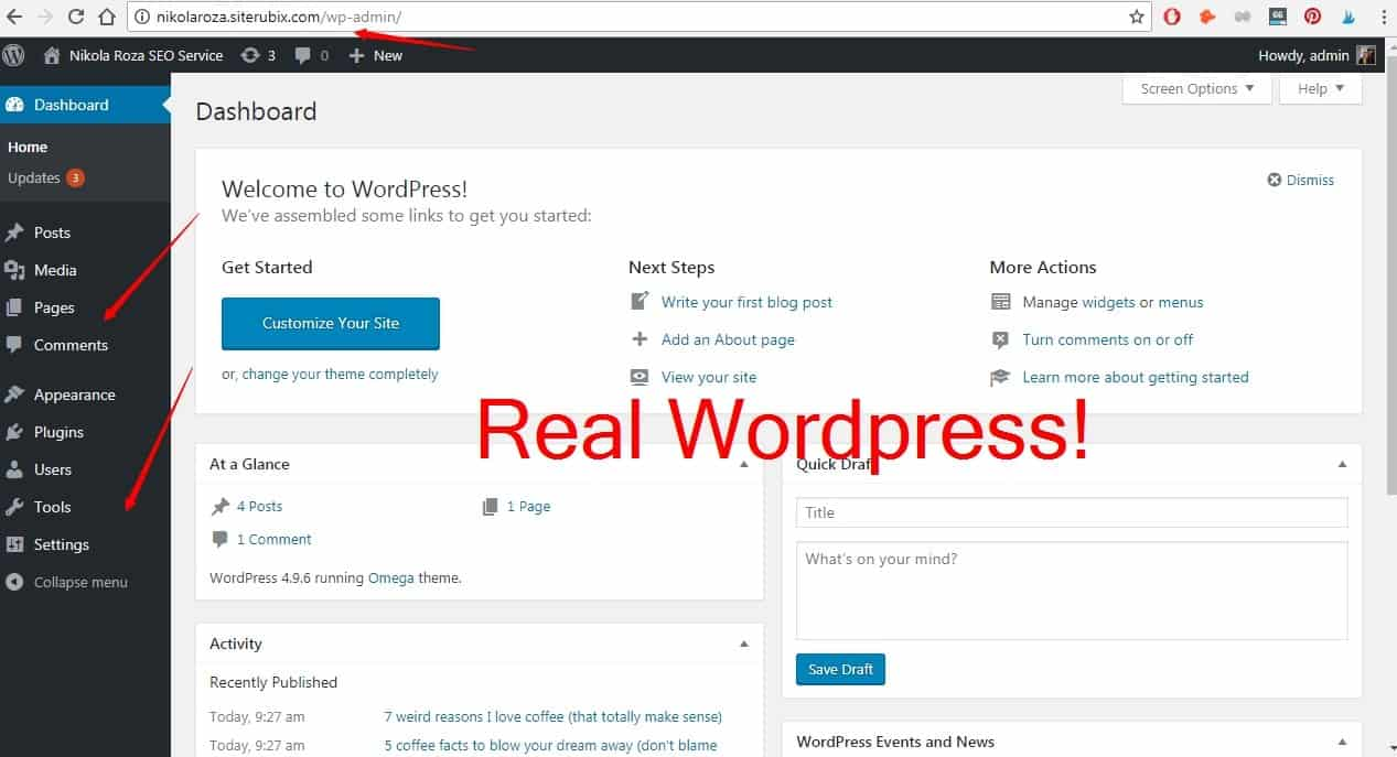 Real WordPress with your free website
