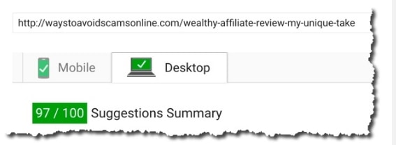 Site speed gives insane speed grades for Wealthy Affiliate websites