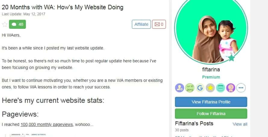 Wealthy Affiliate success story