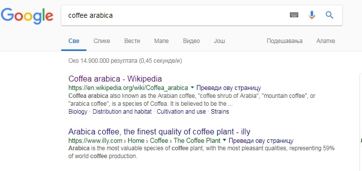 """Sitelinks in Google's result for term """"coffee Arabica)"""