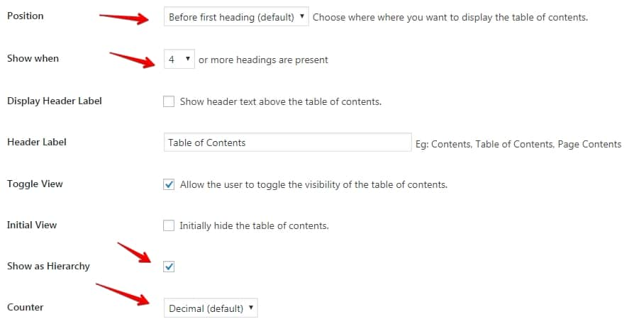 content tables. how to set them up