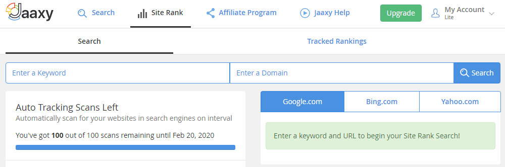Jaaxy site rank features