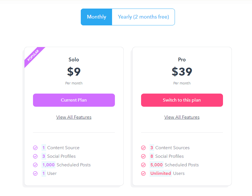 Missinglettr pricing and cost