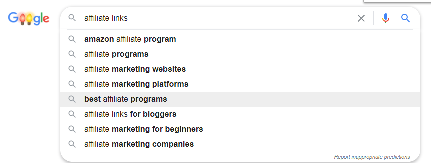 Affiliate links google autosuggest