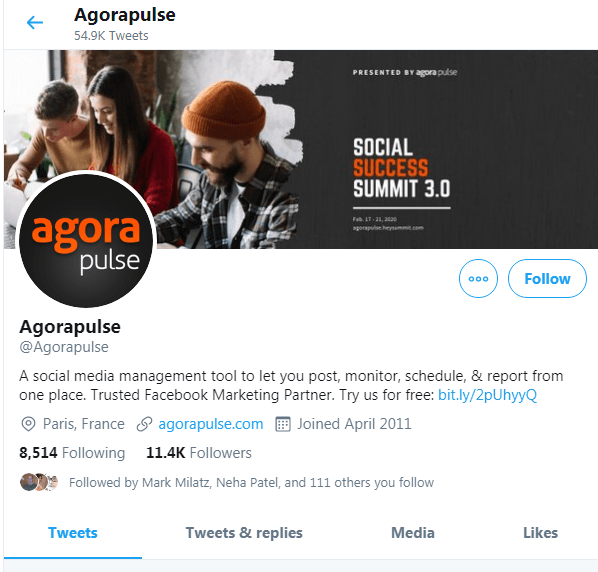 Agora Pulse awesome twitter profile