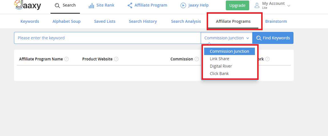 Jaaaxy affiliate programs feature