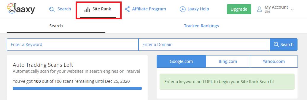Jaaxy SiteRank