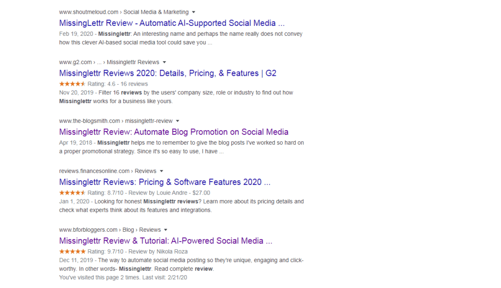 Star snippets in Google SERP