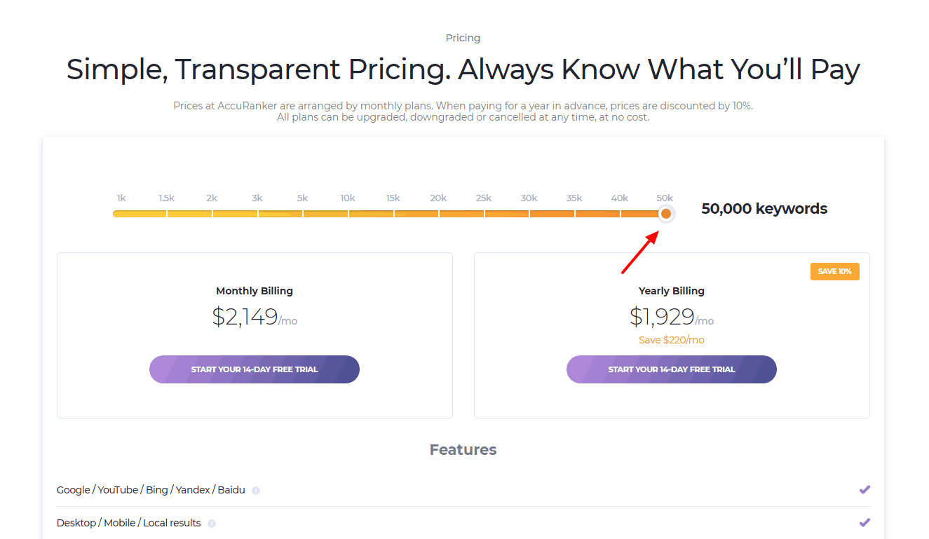 AccuRanker pricing for the most expensive plan/tier