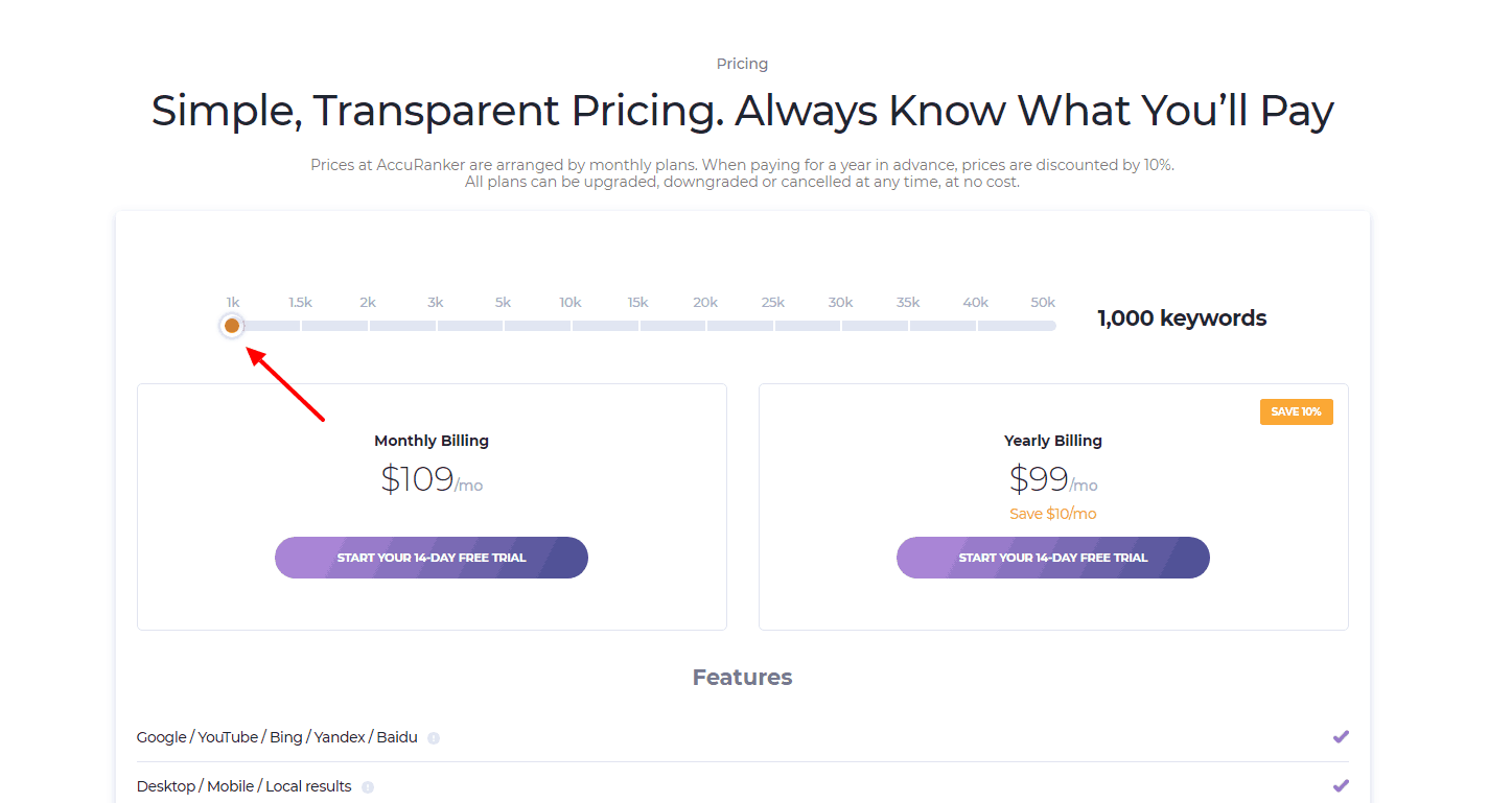 AccuRanker cost for the cheapest plan-tier