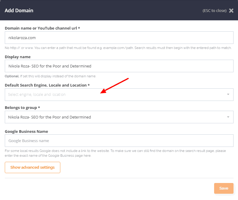 Add new domain in AccuRanker