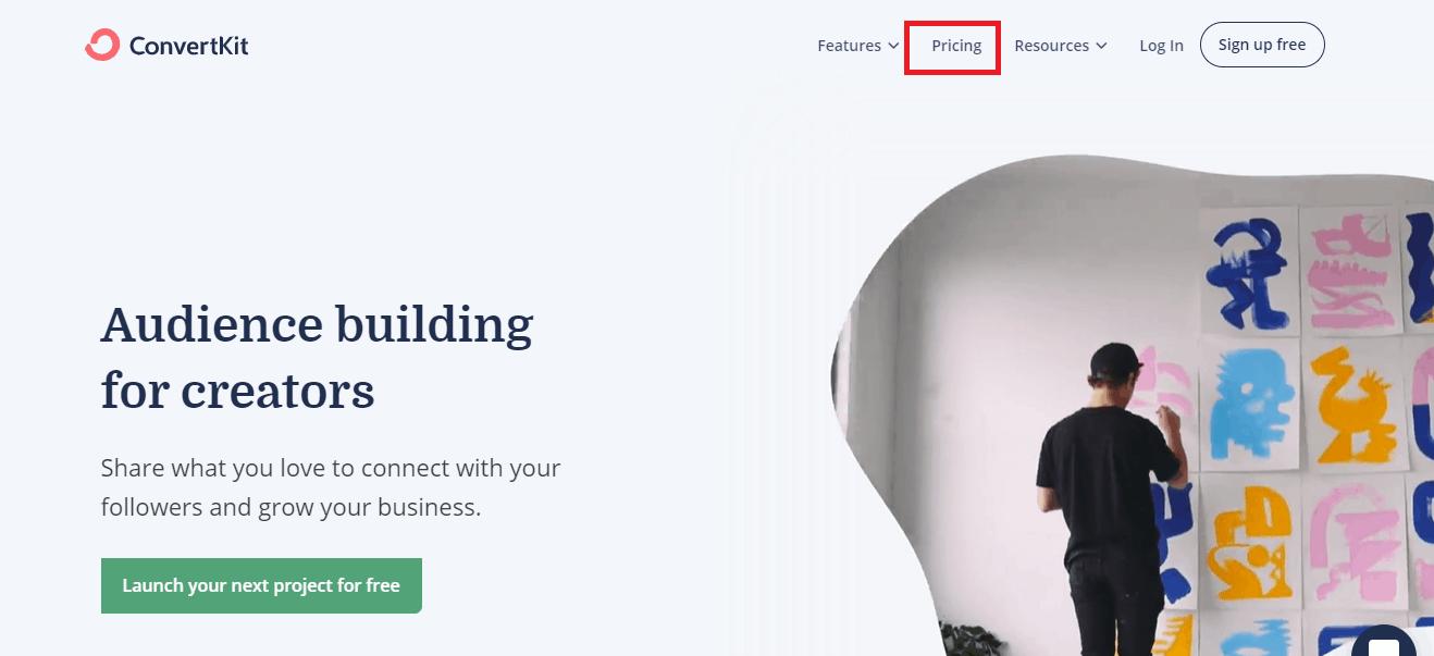 ConvertKit pricing tab