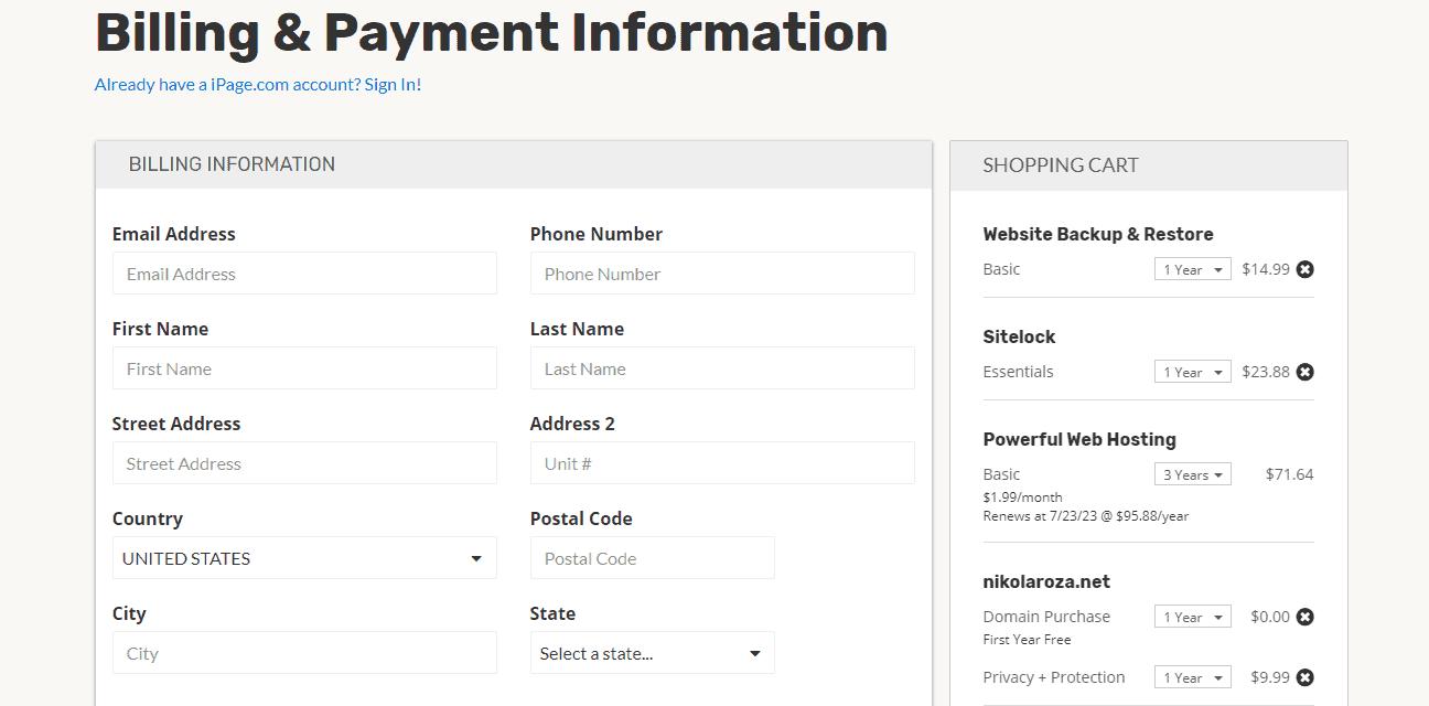 iPage buy hosting