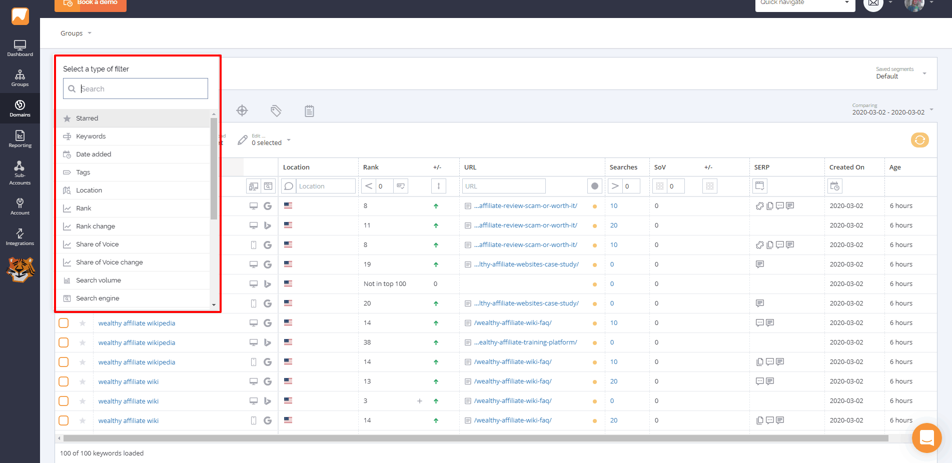 Keyword filtering with AccuRanker