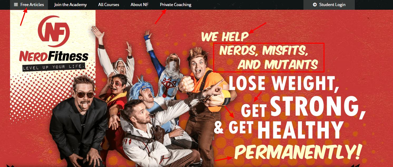 Nerd Fitness homepage power words