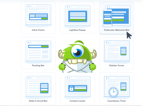 OptinMonster pre-designed templates and different campaign types