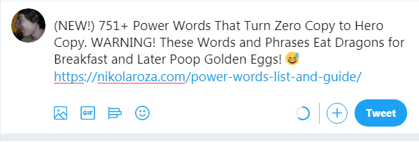 use power words with Twitter