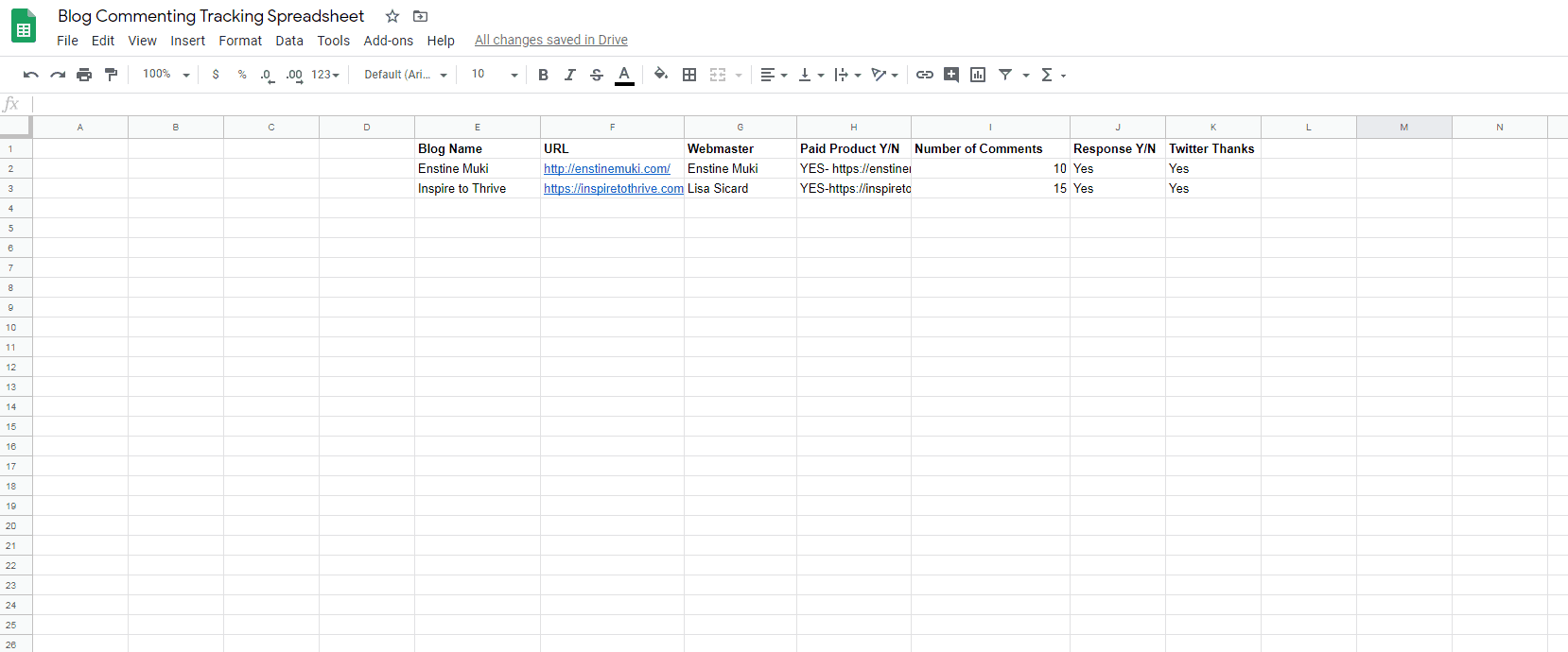 Tracking comments in a spreadsheet