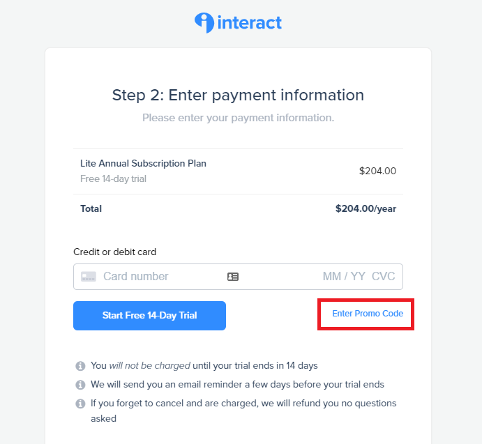 Interact complete payment