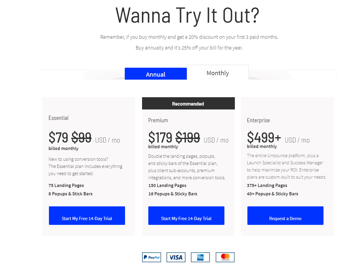 Unbounce pricing tiers
