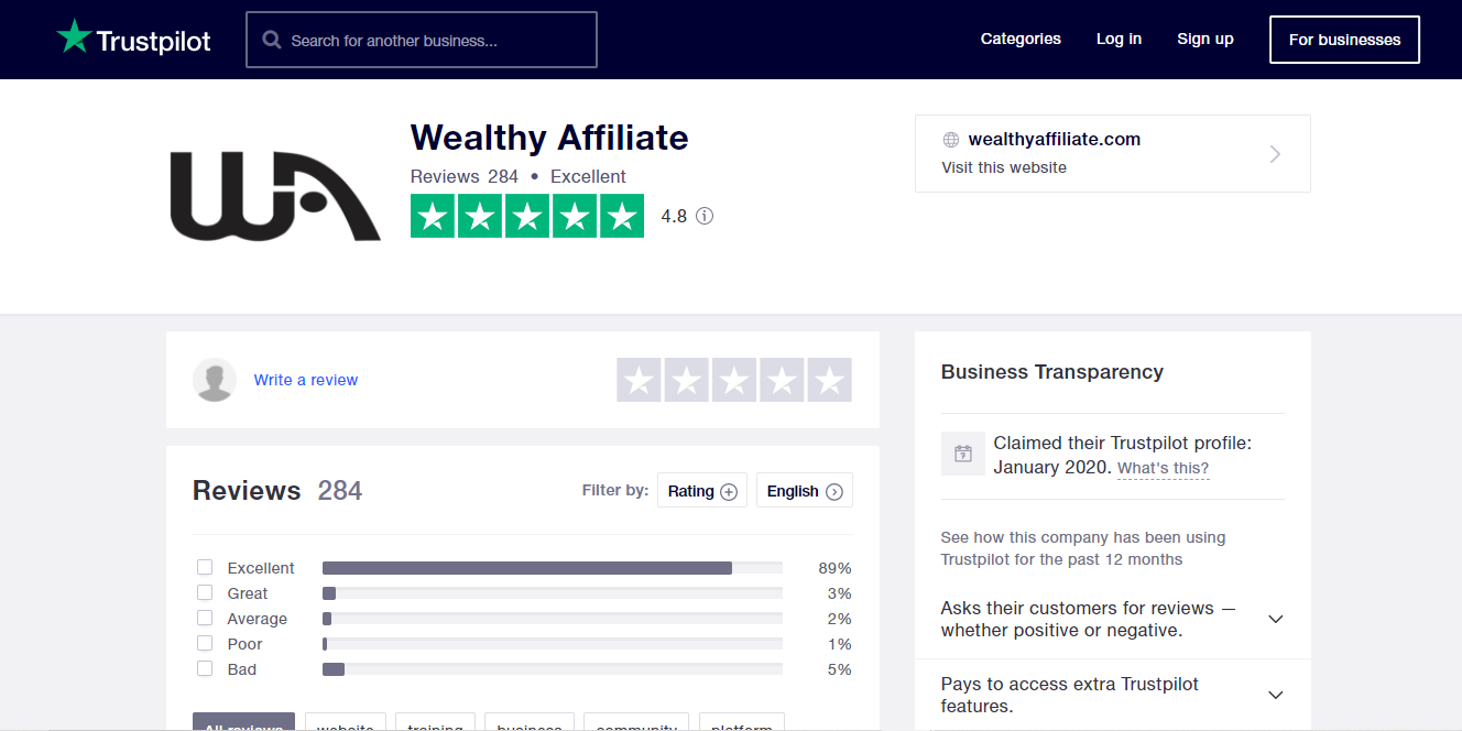 Wealthy Affiliate trustpilot score