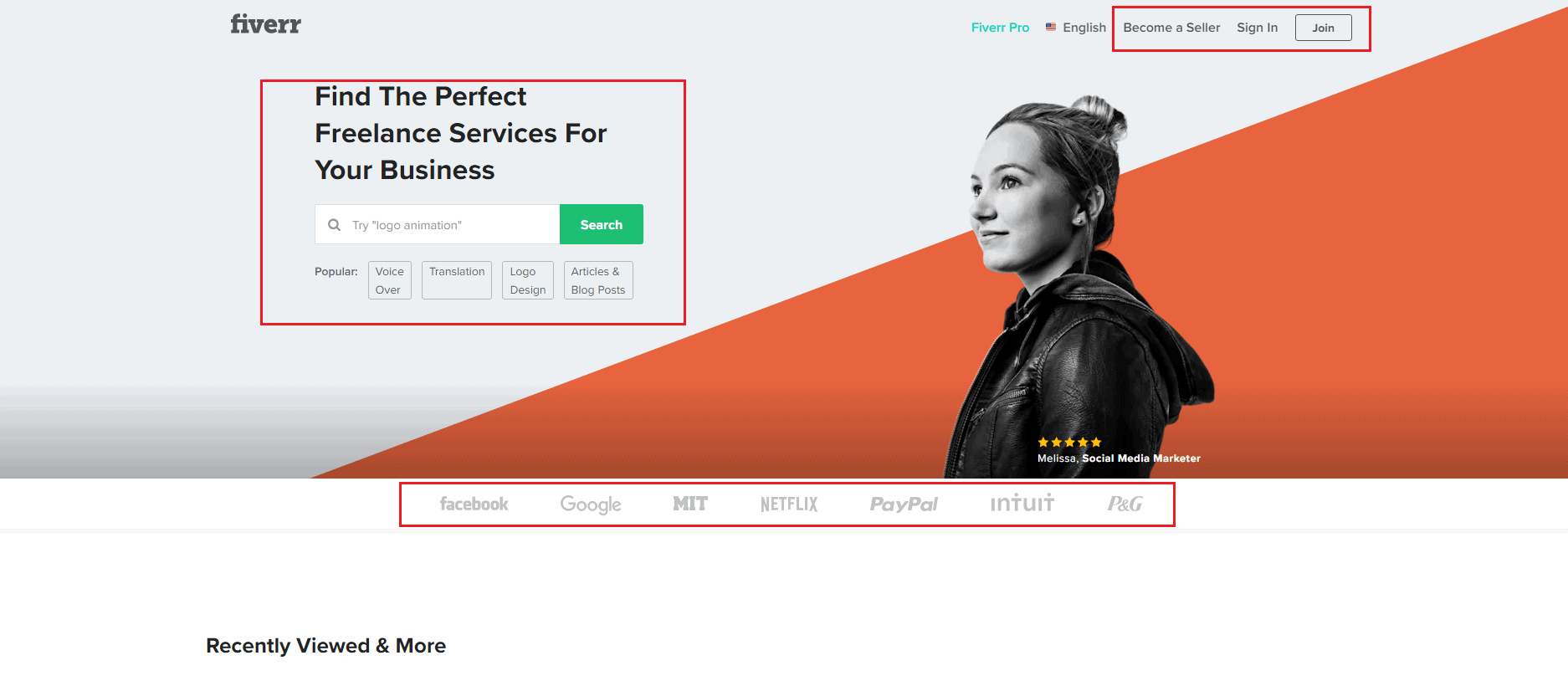 Fiverr's homepage is built for increasing clicks and conversions
