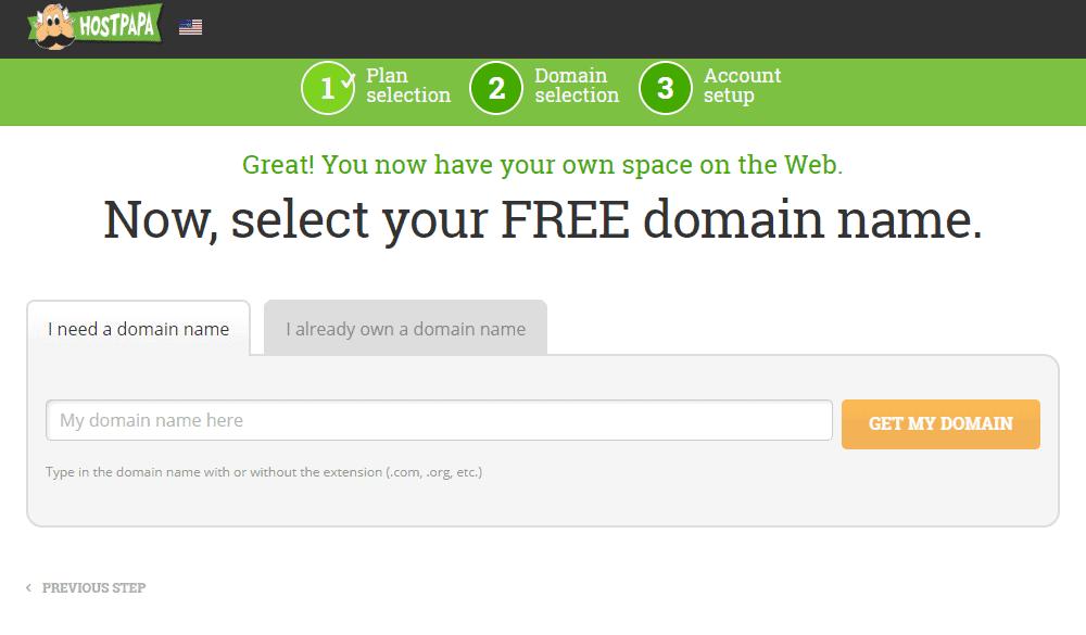 Free domain name with HostPapa