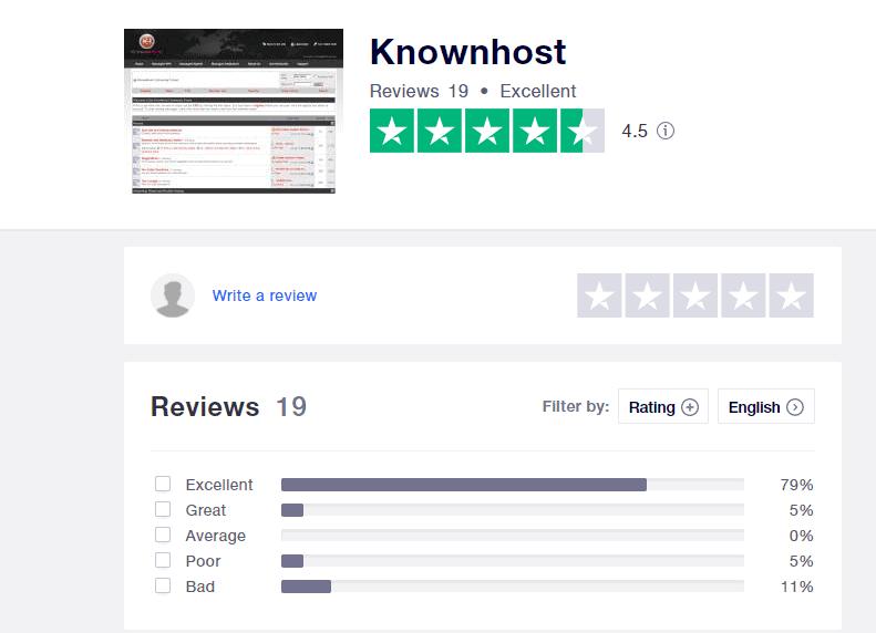 KnownHost positive reviews on Trustpilot