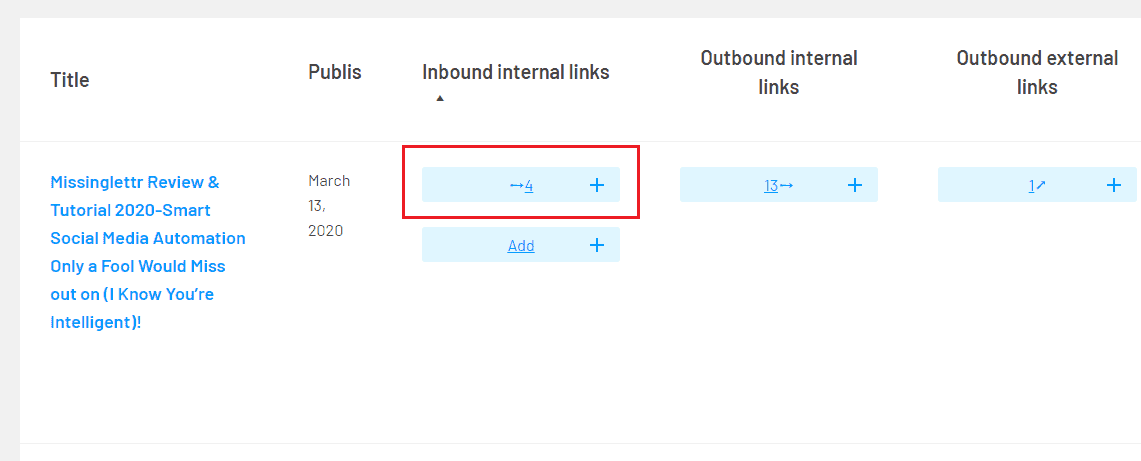Add internal links from within Link Whisper's dashboard