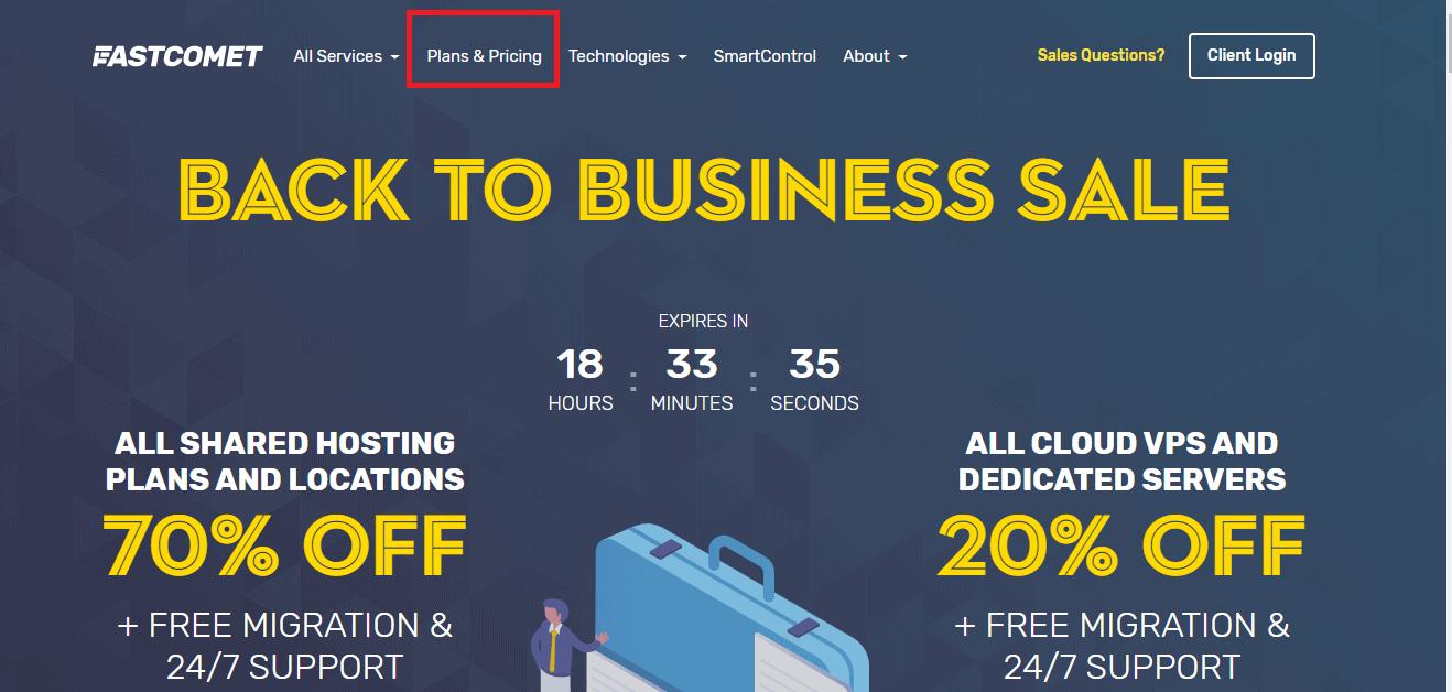 FastComet homepage