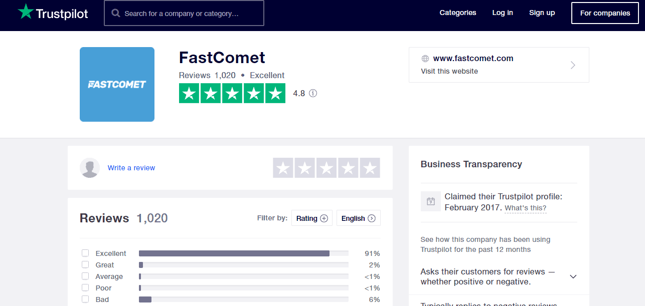 FastComet hosting Positive reviews on Trustpilot