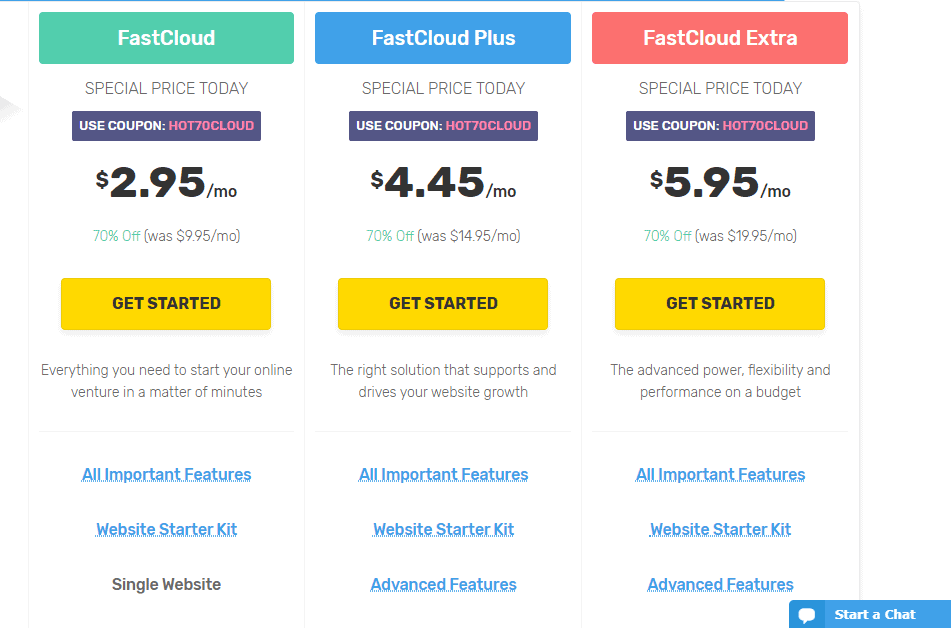FastComet shared hosting plans