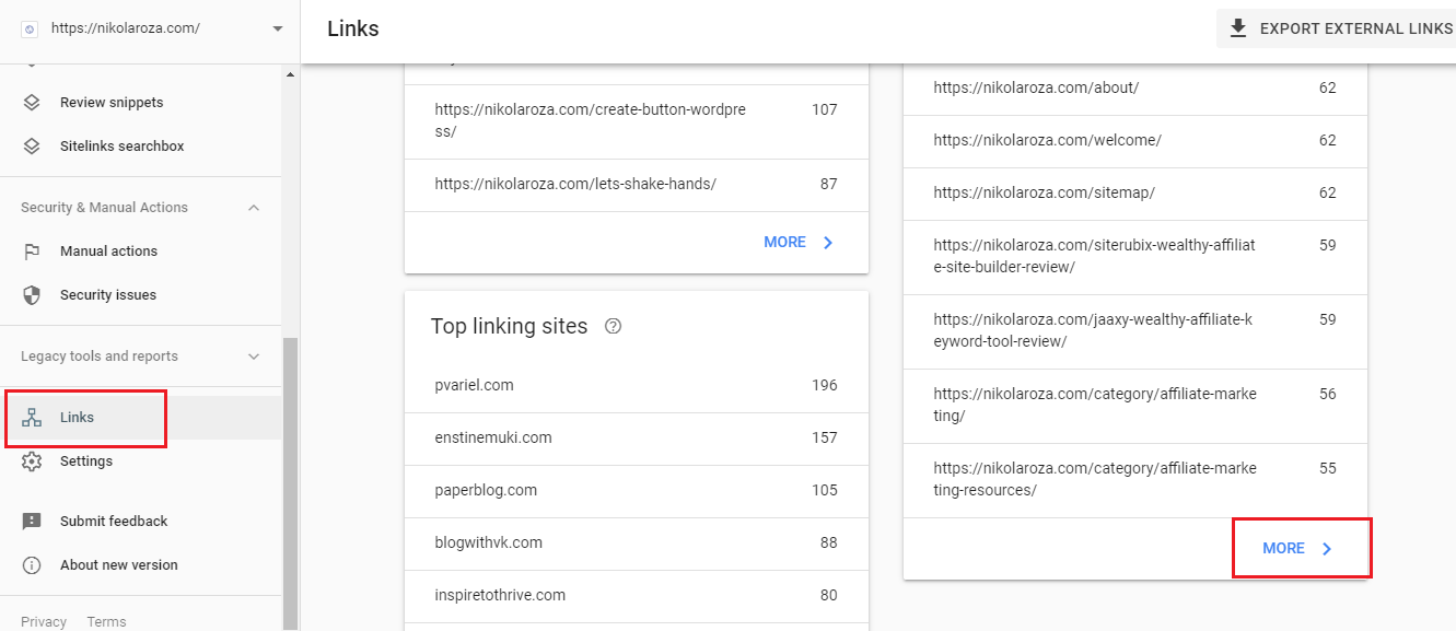 Internal links report Google search Console