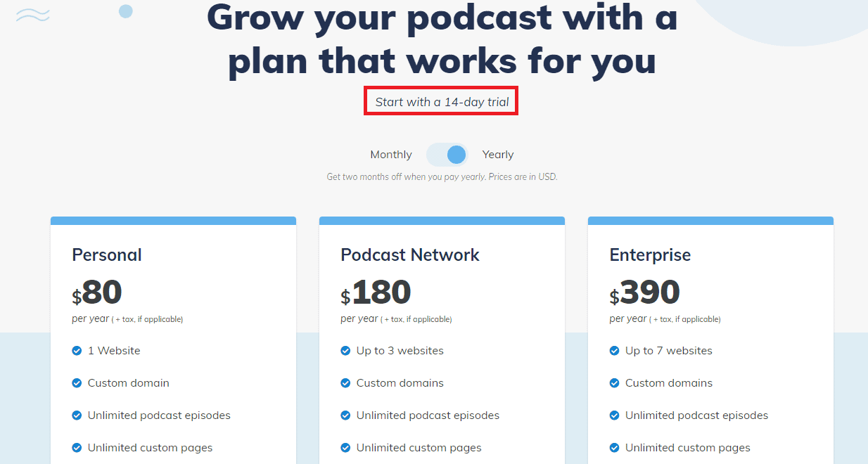Podcastpage pricing plans