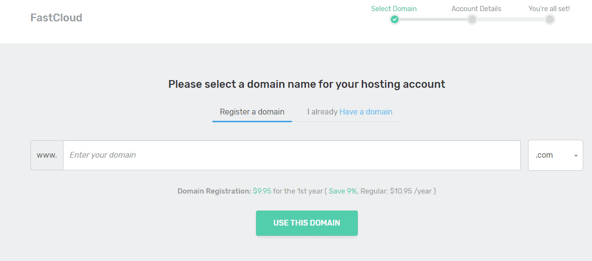 Register a domain with FastComet