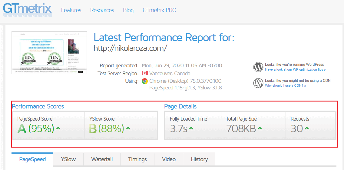 My site;s score with GTmetrix on siteground hosting