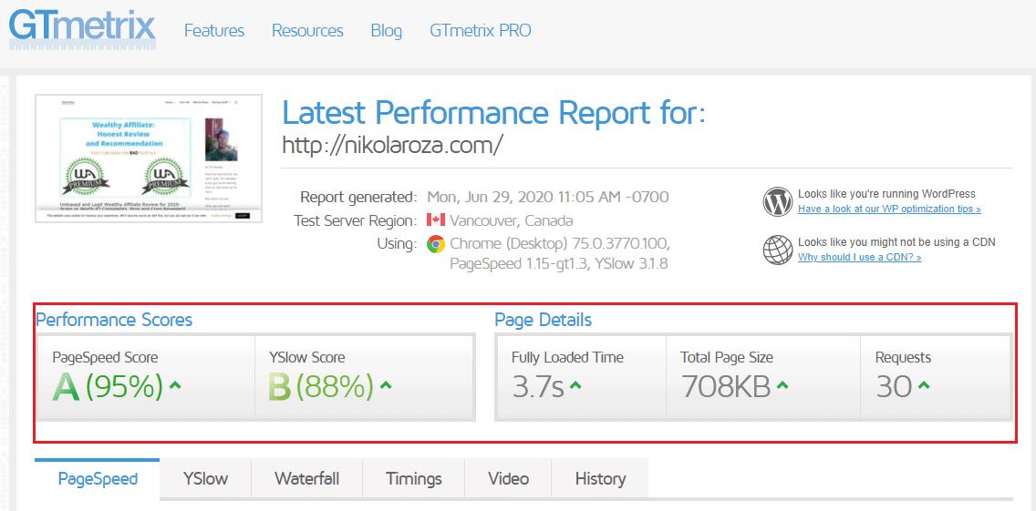 My site;s score with GTmetrix on siteground hosting