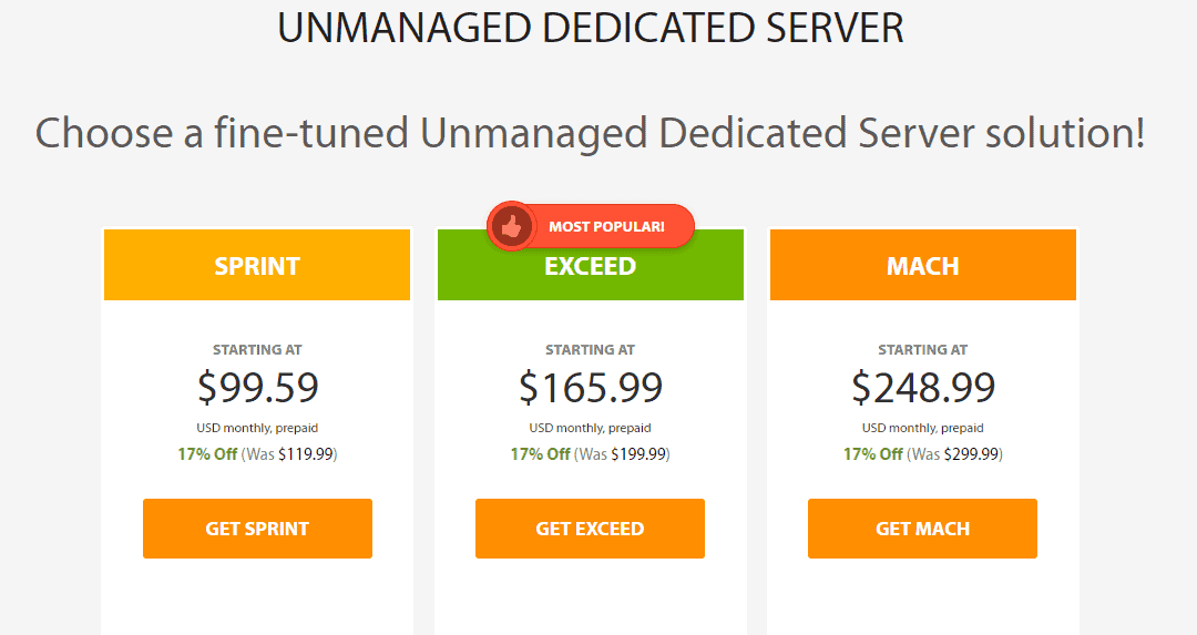 A2 Hosting dedicated servers plans