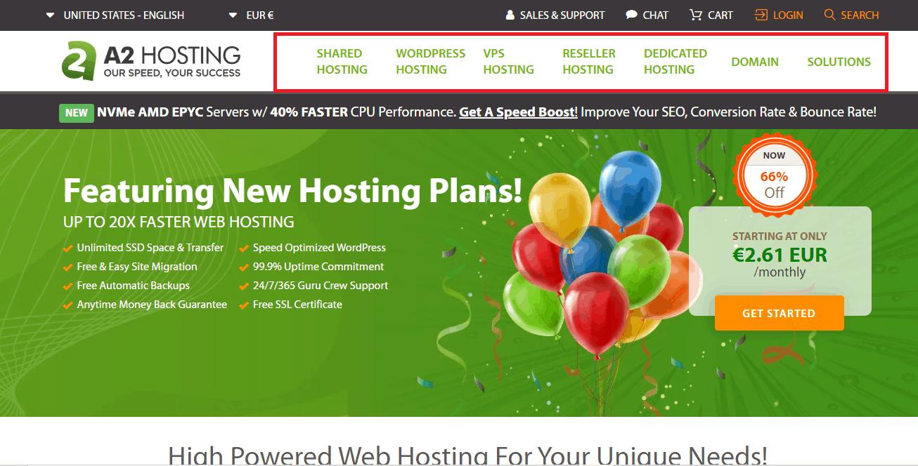 A2 hosting options