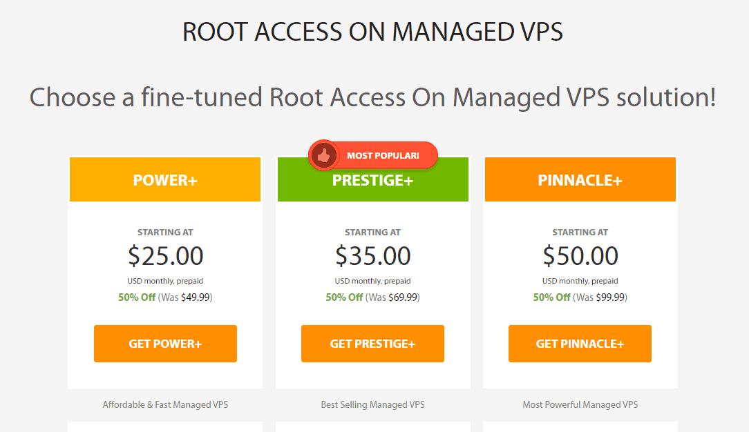 A2 Hosting VPS hosting plans