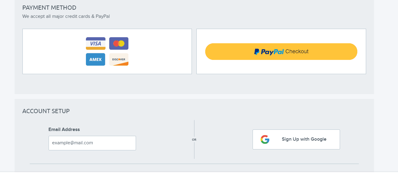 DreamHost account setup and payment methods