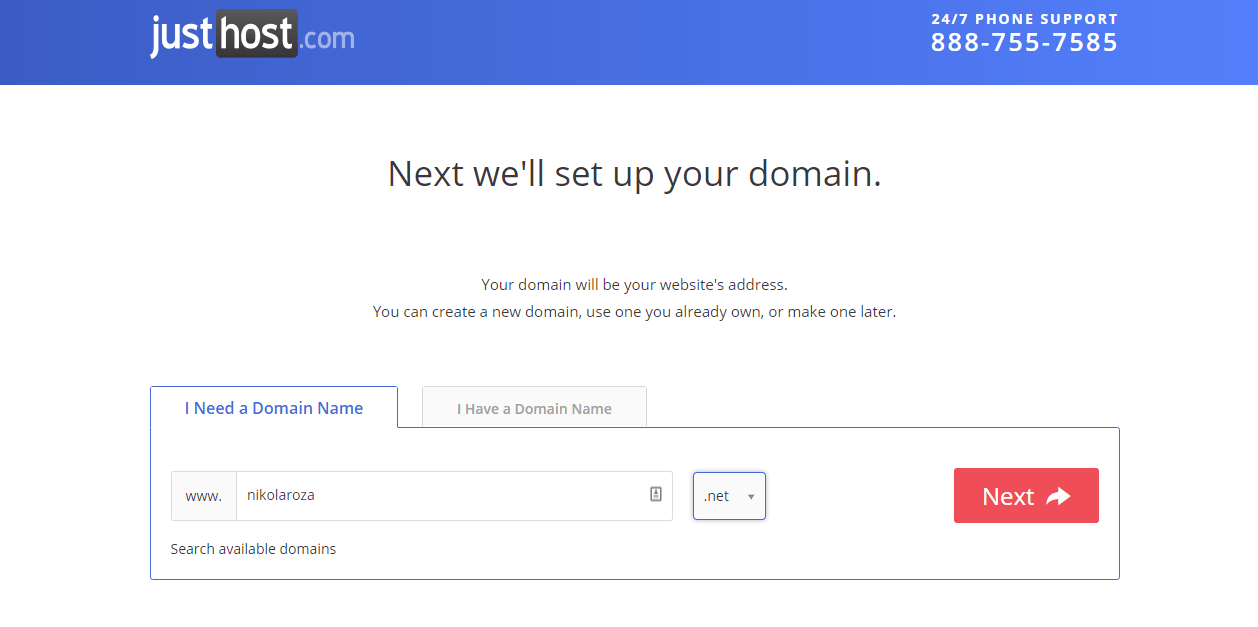 Domain name with JustHost