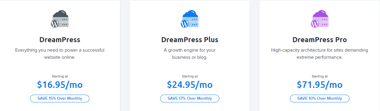 Dreamhost managed WordPress hosting plans