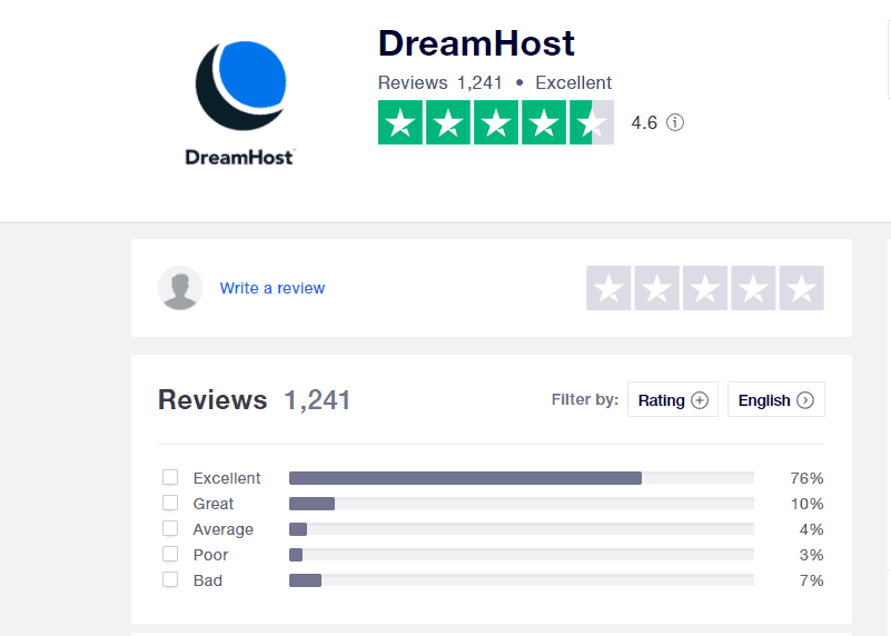 DreamHost positive reviews on Trustpilot