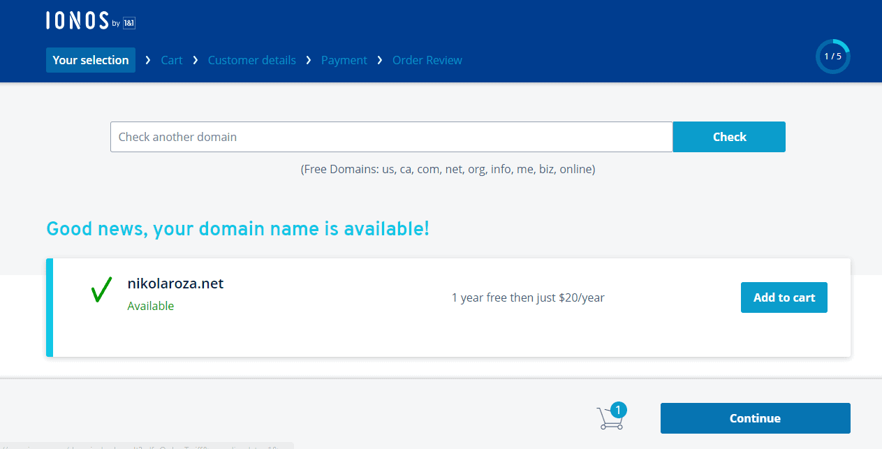 Free domain name IONOS