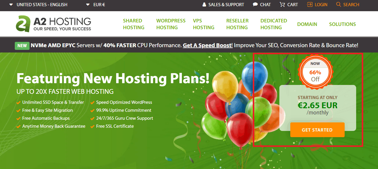 Get A2 hosting with a discount