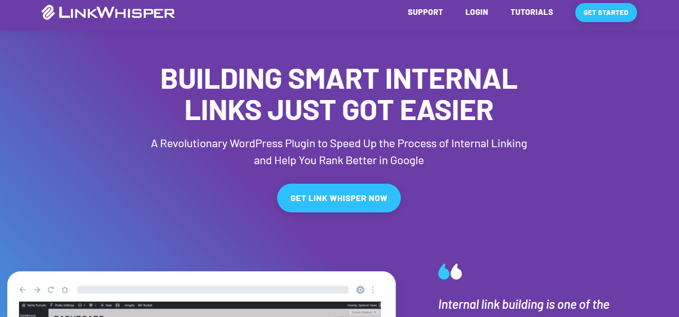 Get Link Whisper now on their homepage