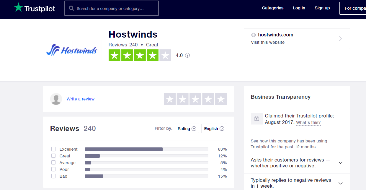 Hostwinds positive reviews trustpilot