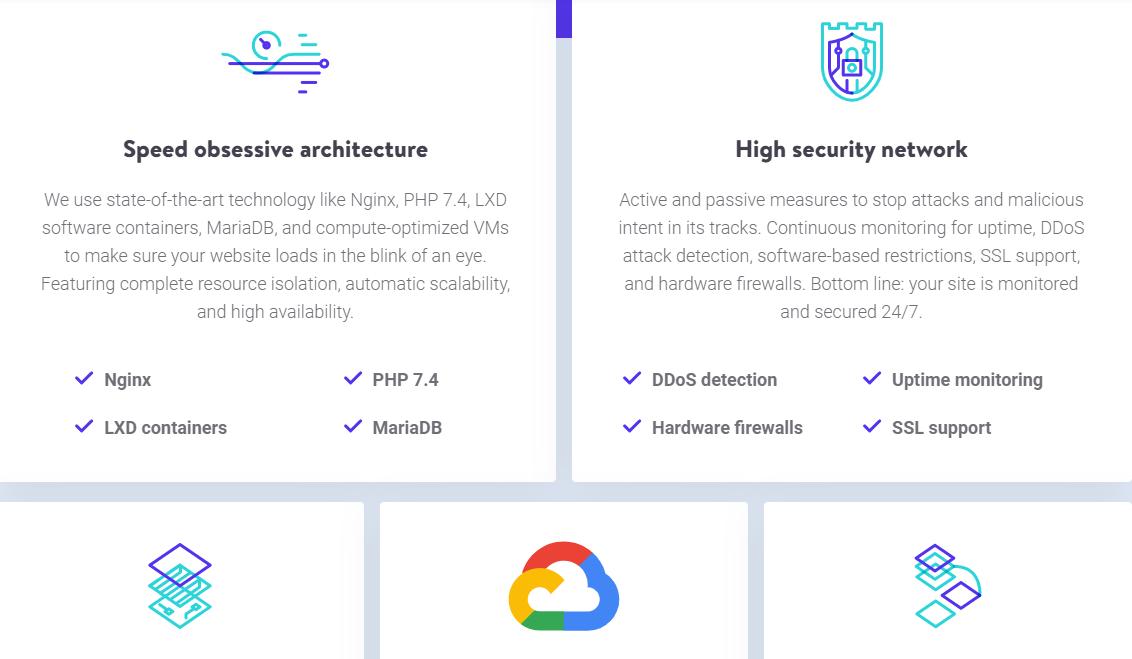 Kinsta hosting features