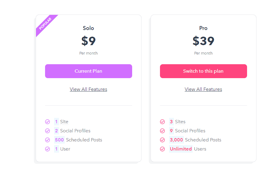 Missinglettr different pricing plans